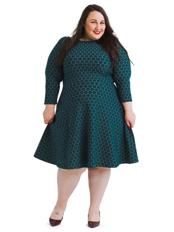 Luxe Jacquard Botanical Green Circle Dress