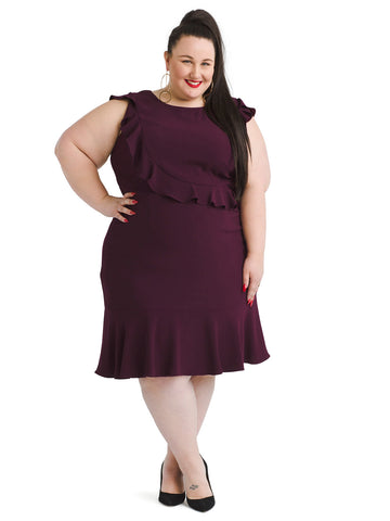 Burgundy Textured Crepe Ruffle A-Line Dress