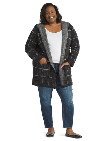 Hooded Check Cozy Cardigan