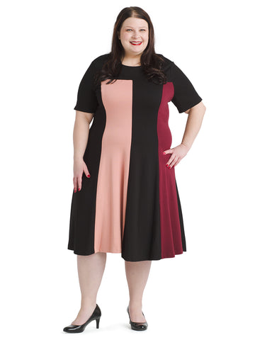 Pink Multi Colorblock Fit And Flare Dress