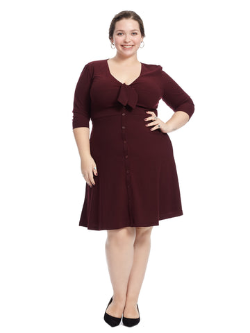 Button Front Wine Fit And Flare Dress