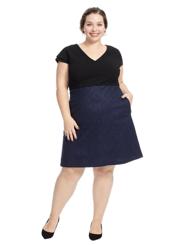 Lace Navy And Black Twofer Dress