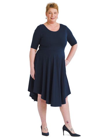 Navy Curved Hem Dress