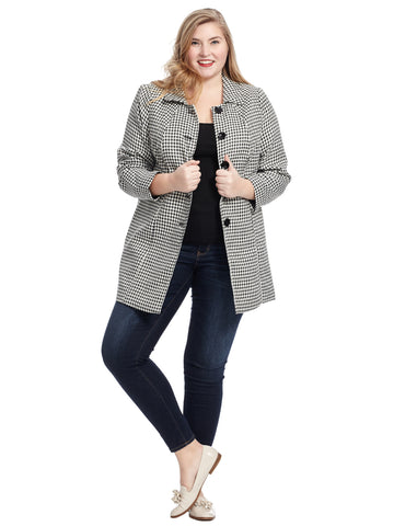 Button Front Houndstooth Jacket