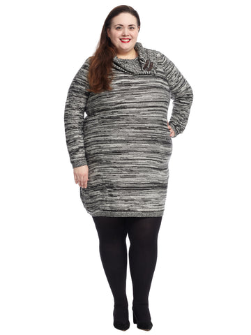 Cowl Neck Spacedye Sweater Dress