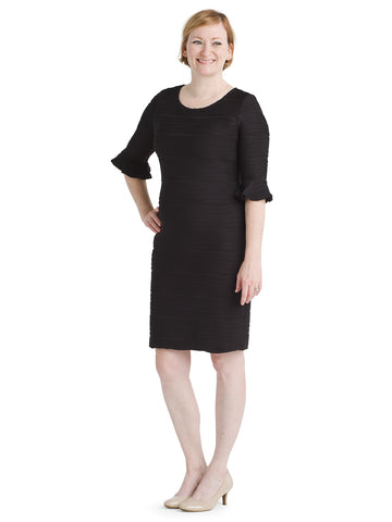 Bell Sleeve Black Sheath Dress