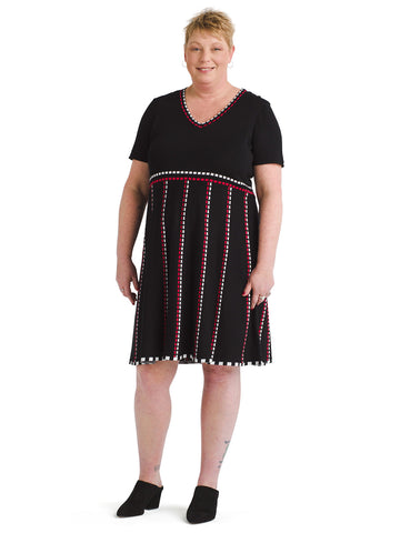 Dashline Black And Cherry Fit And Flare Sweater Dress