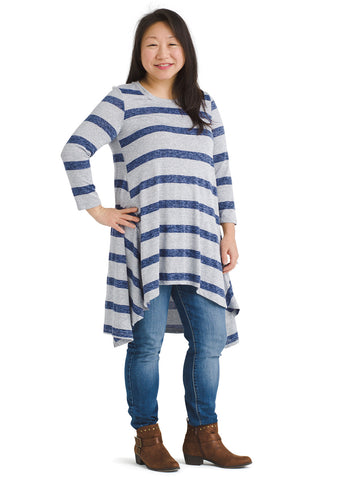 Sharkbite Hem Striped Blue Denver Tunic