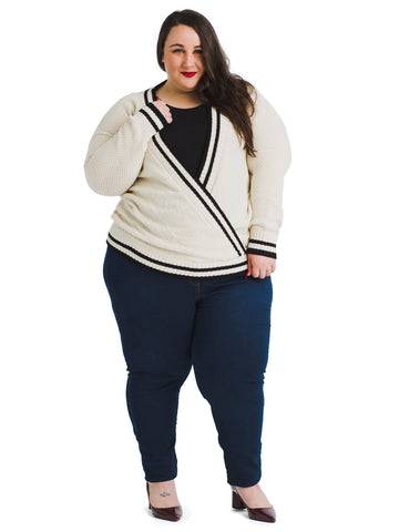 Contrast Trim Oatmeal Sweater