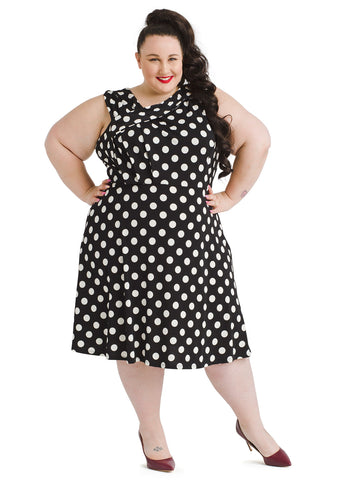 Asymmetrical Neck Jersey Polka Dot Dress