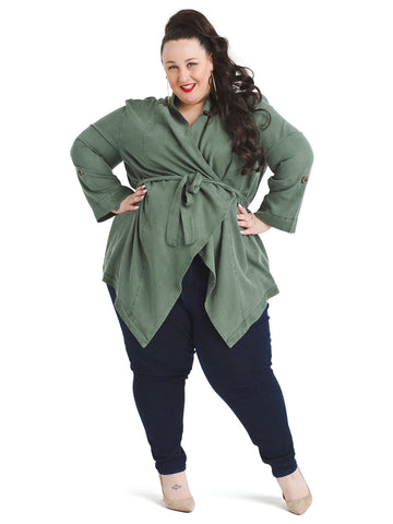 Waterfall Belted Green Jacket