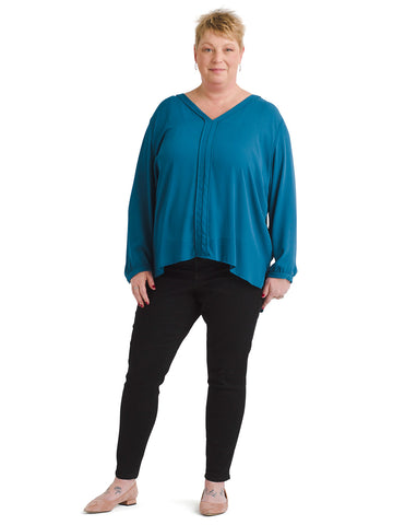V-Neck Teal Top