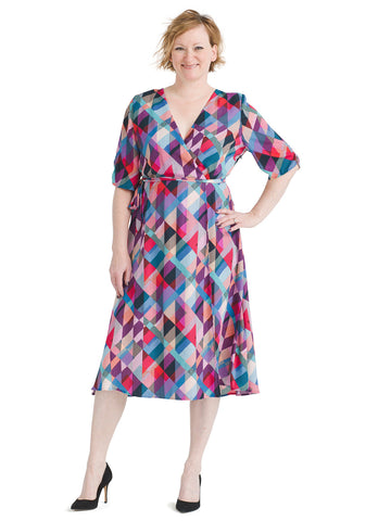 Geo Print Emory Faux Wrap Dress