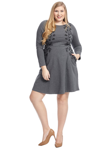 Embroidered Grey Fit And Flare Dress
