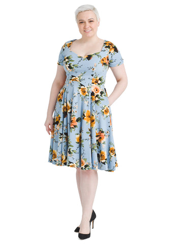 Blue And Gold Floral Fit And Flare Dress