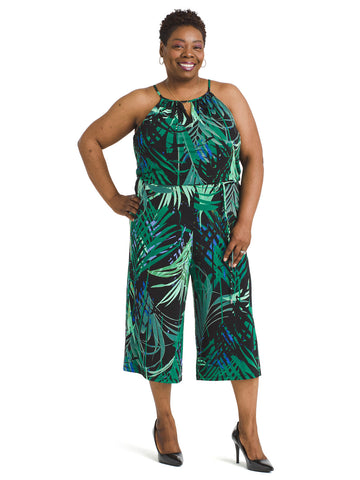 Jungle Palm Cropped Jumpsuit