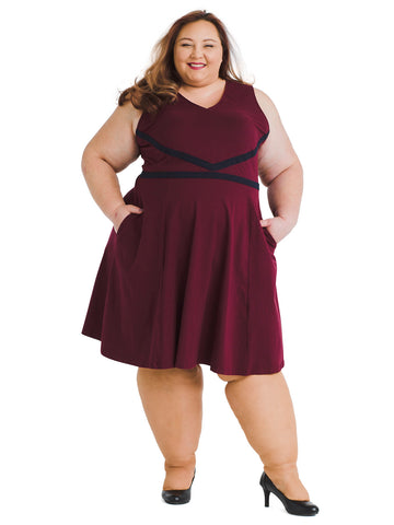 Lace Trim Burgundy Fit And Flare Dress