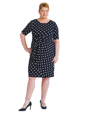 Polka Dot Side Draped Dress