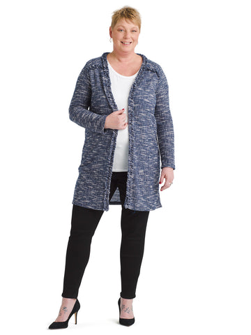 Navy And White Duster Cardigan