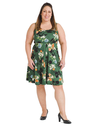 Green Floral Fit And Flare Dress