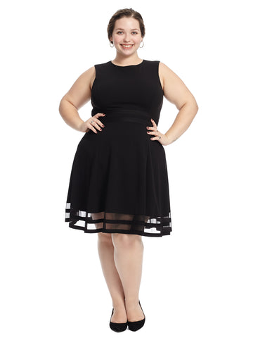 Mesh Hem Black Fit And Flare Dress