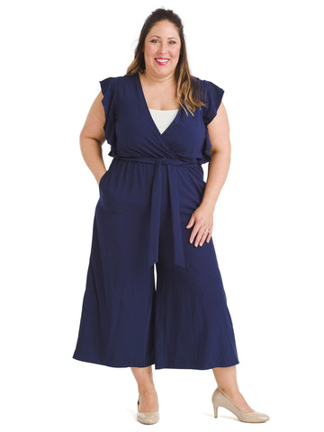 Ruffle Sleeve Navy Jumpsuit