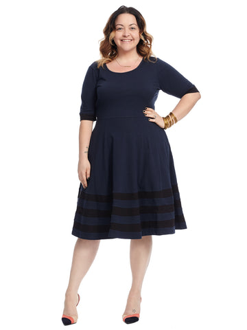 Stripe Hem Navy Fit And Flare Dress