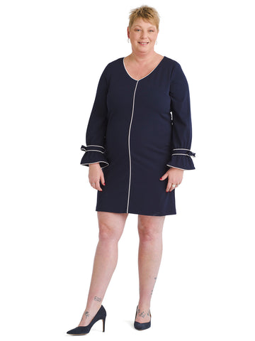 Ivory Piped Navy Shift Dress