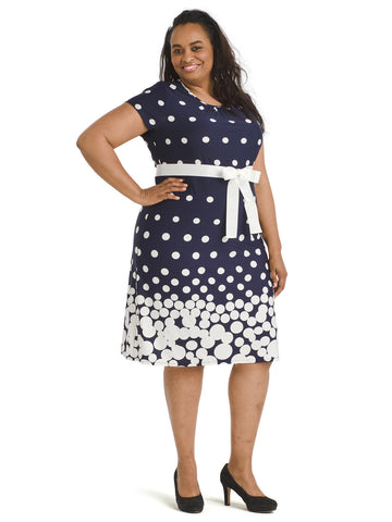 Navy And White Dot Fit And Flare Dress