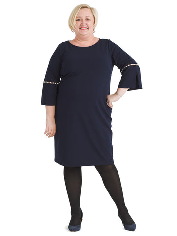 Indigo Bell Sleeve Shift Dress
