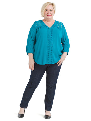 Lace Yoke Crepon Top