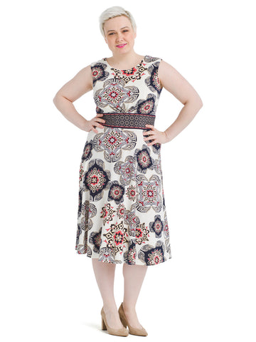 Paisley Tile Fit and Flare Dress