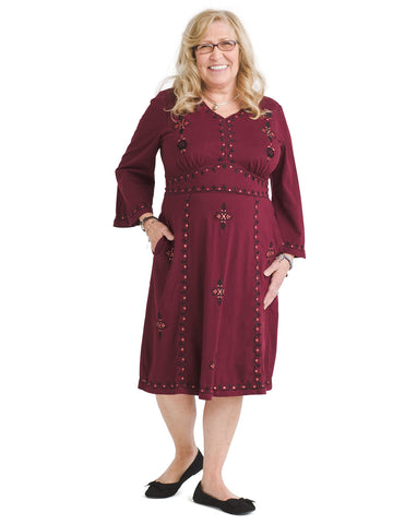 Embroidered Burgundy Dress