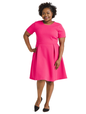 Textured Fuchsia Fit And Flare Dress