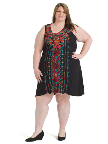 Embroidered Sharkbite Ornella Tunic Dress