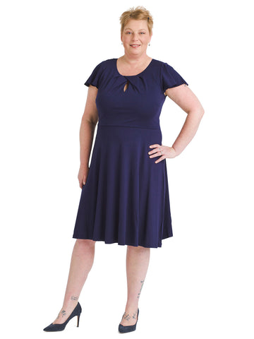 Flutter Sleeve Navy Fit And Flare Dress