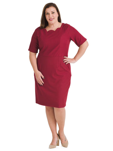 Scallop Neck Burgundy Sheath Dress