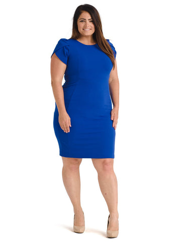 Cape Shoulder Blue Sheath Dress