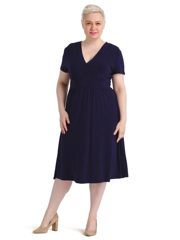 V-Neck Navy Fit And Flare Dress