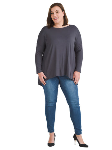 Knot Back Long Sleeve Gray Top