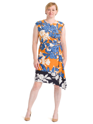 Mixed Print Asymmetrical Hem Dress