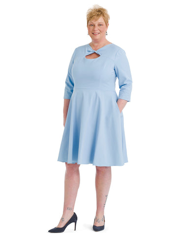 Twist Detail Light Blue Fit And Flare Dress