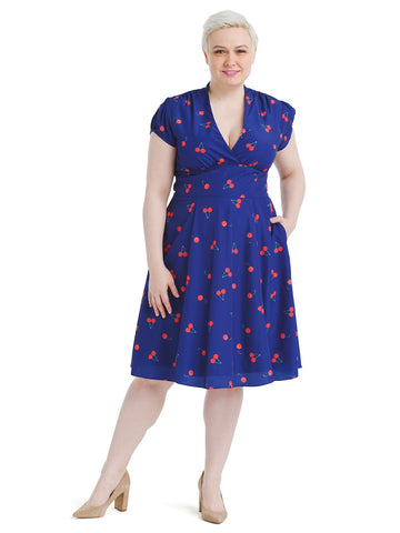 Cherry Print Fit And Flare Dress