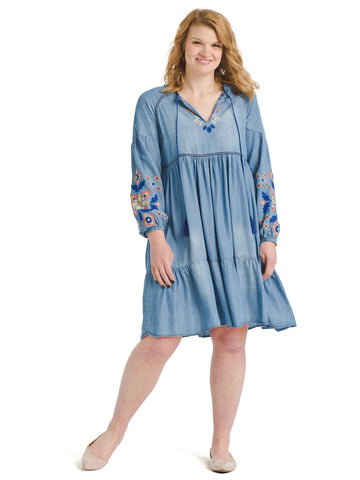 Embroidered Tiered Chambray Dress