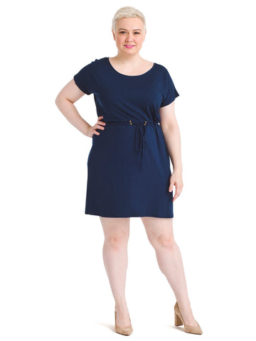 Toggle Waist Navy Fit And Flare Dress