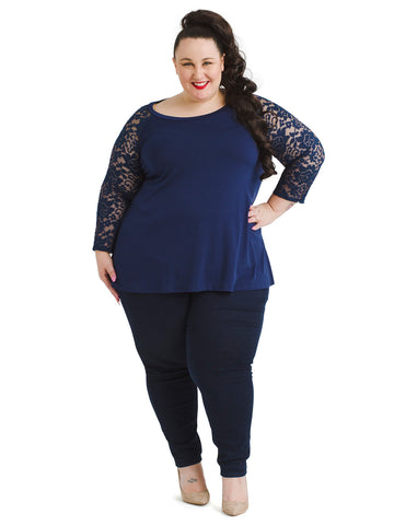 Lace Sleeve Navy Top