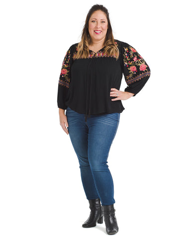 Floral Detail Black Long Sleeve Top