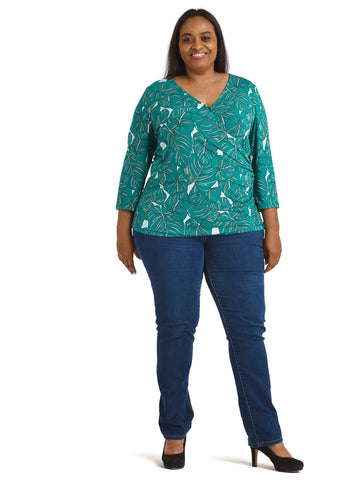 Green Rainforest Ruched Faux Wrap Top