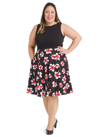 Black And Floral Twofer Dress
