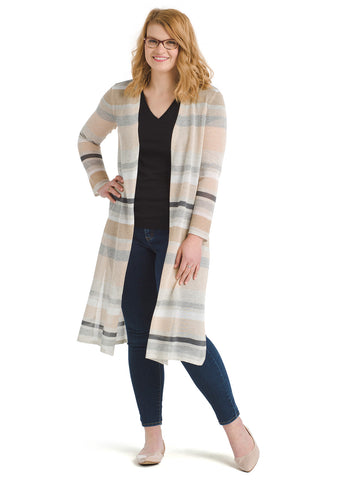 Lightweight Striped Duster Cardigan